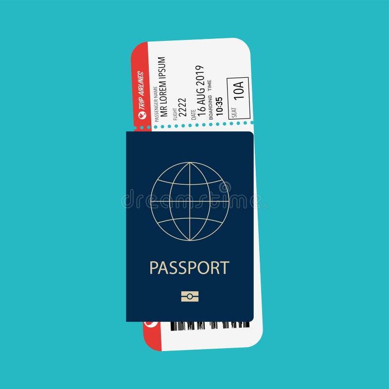 Passaporte com o piquete preparado para o avião de embarque ilustração do vetor