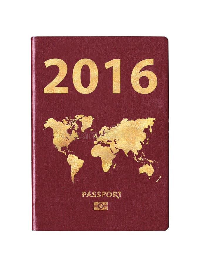 Passaporte 2016 com um mapa do mundo na tampa fotos de stock