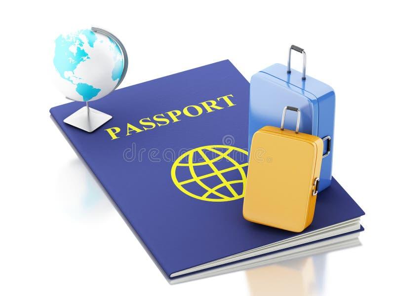 passaporte 3d, malas de viagem do curso e globo da terra ilustração royalty free
