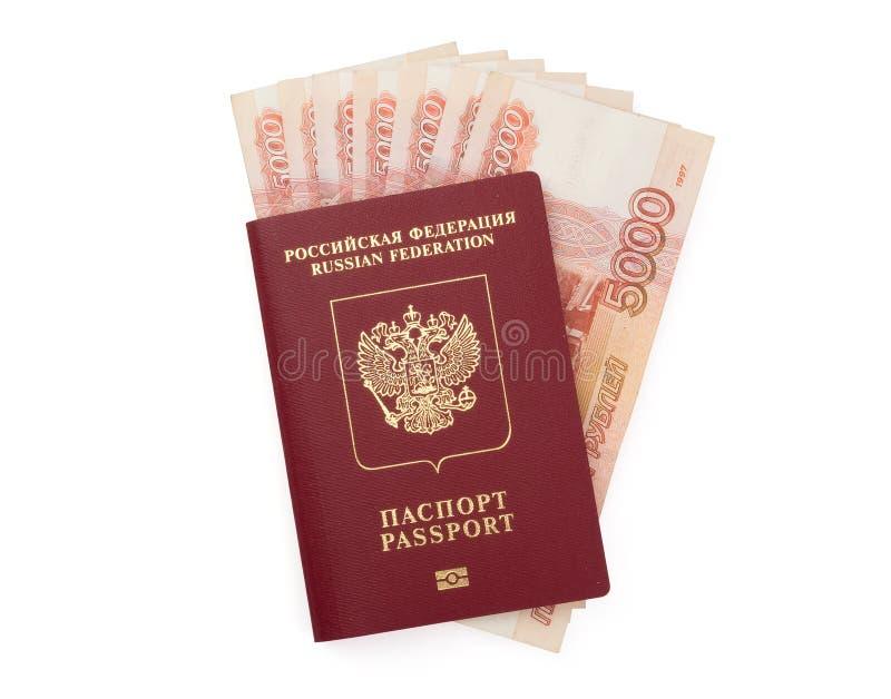 Passaporte do russo com dinheiro imagens de stock