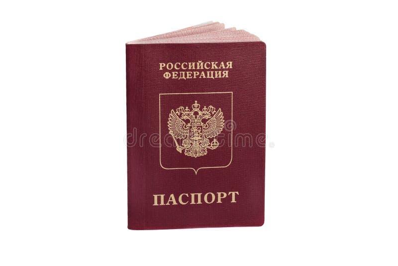 Passaporte do russo isolado no fundo branco fotografia de stock