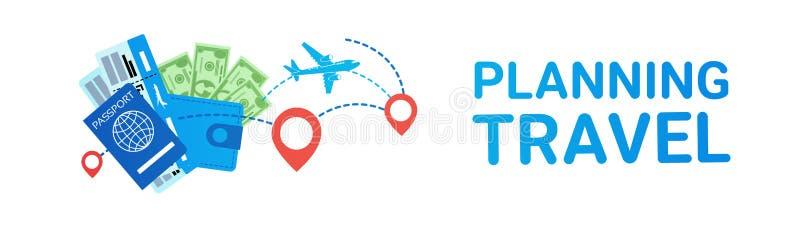 Passaporte e bilhetes horizontais do avião dos ícones do curso do fundo da bandeira do molde do planeamento de Travellling ilustração stock