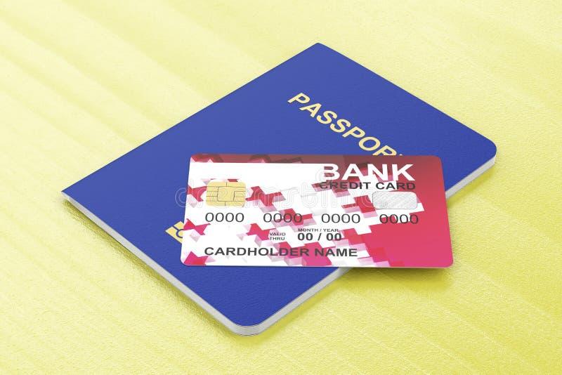 Passaporte e cartão de crédito ilustração stock