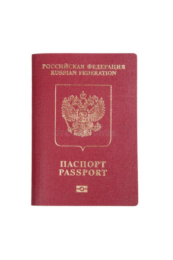 Passaporte estrangeiro da Federação Russa isolado no CCB branco imagens de stock