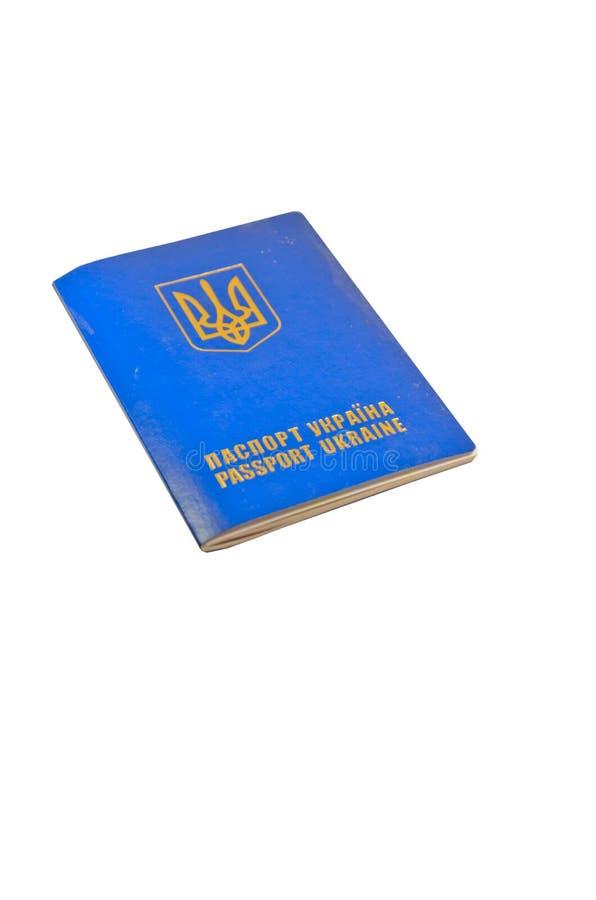 Passaporte estrangeiro do ucraniano isolado no branco fotografia de stock