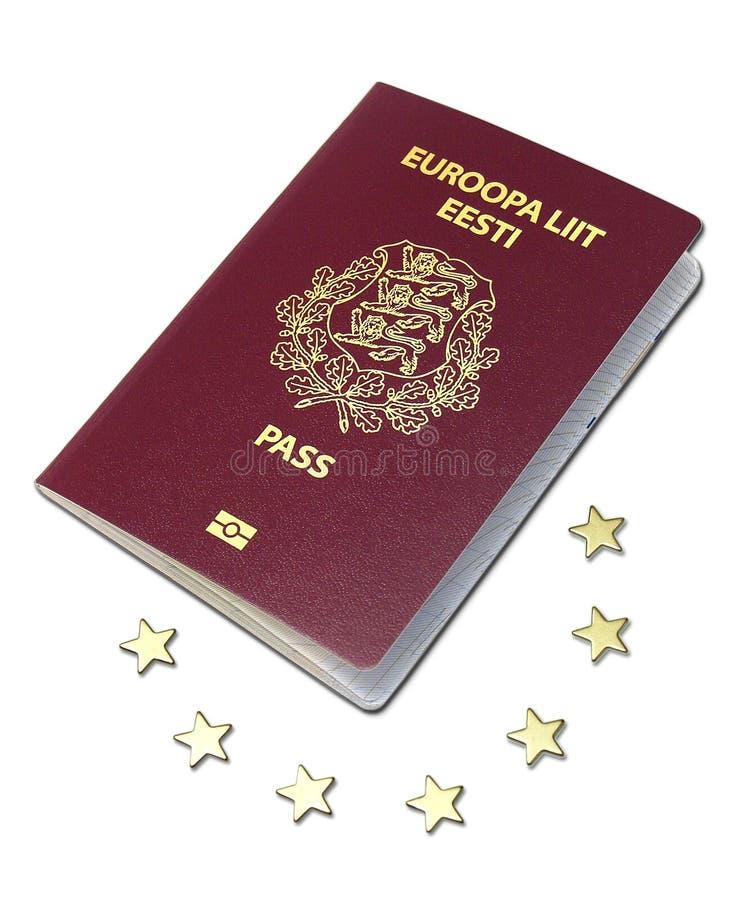 Passaporte europeu que coloca nas euro- estrelas foto de stock