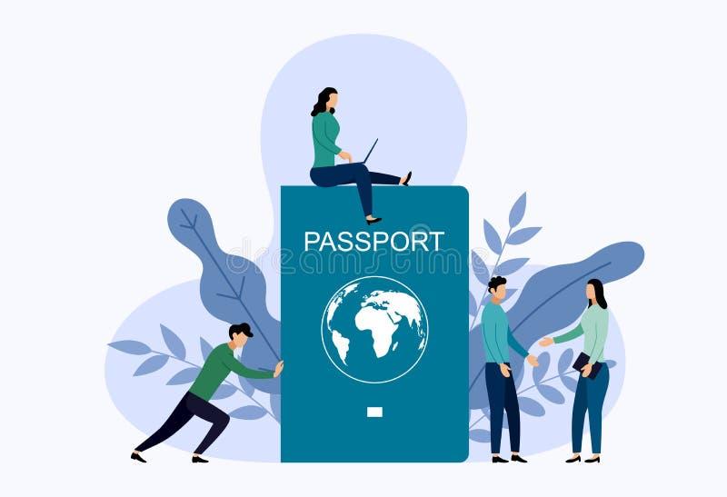 Passaporte internacional com conceitos humanos ilustração royalty free