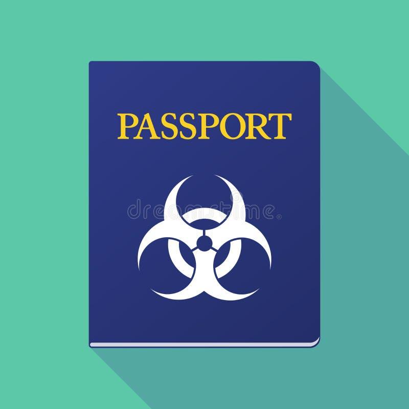 Passaporte longo da sombra com um sinal do biohazard ilustração stock