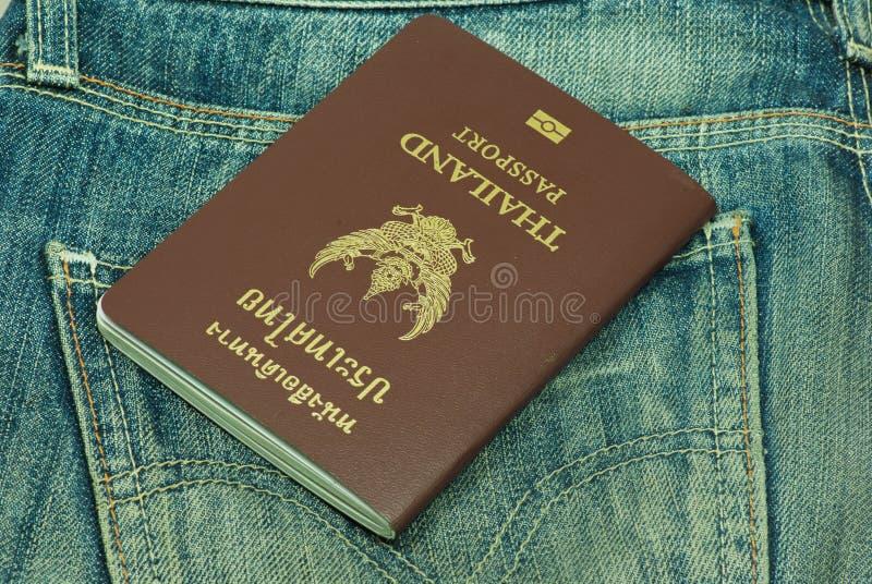 Passaporte roubado do bolso traseiro Tailândia fotografia de stock