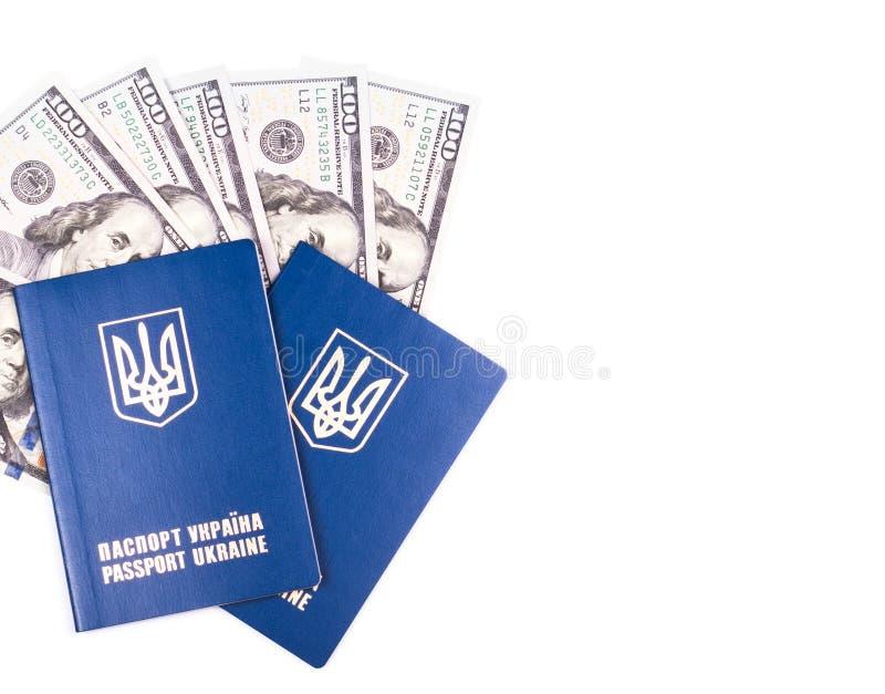 Passaporte ucraniano do curso com dólares foto de stock royalty free