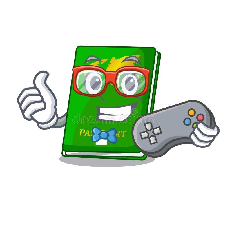 Passaportes do verde do Gamer isolados nos desenhos animados ilustração royalty free