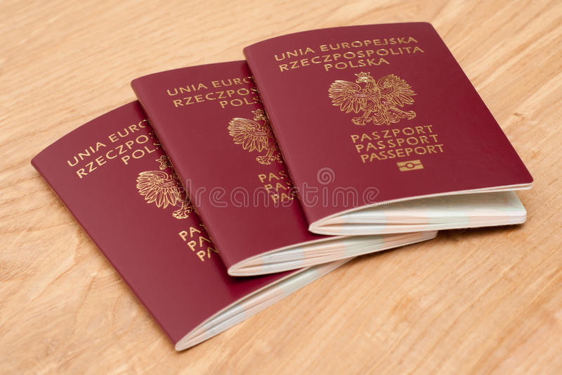 Passaportes poloneses imagens de stock