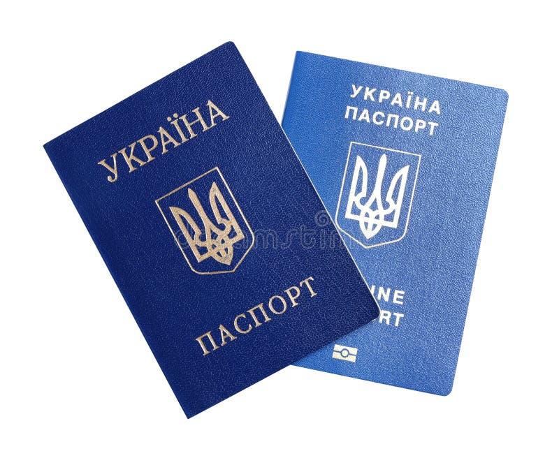 Passaportes ucranianos no fundo branco r fotografia de stock