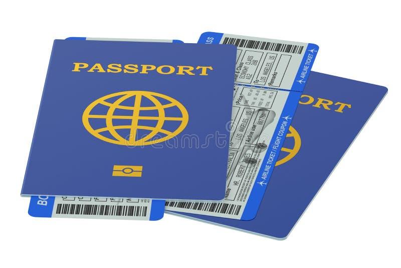 Passaporti e biglietti del passaggio di imbarco illustrazione vettoriale