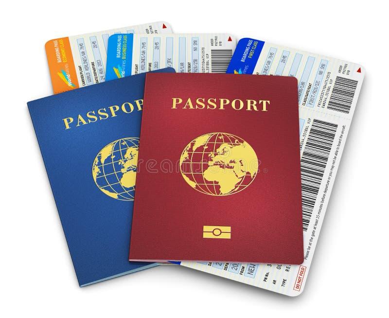Passaporti e biglietti di aria biometrici illustrazione vettoriale