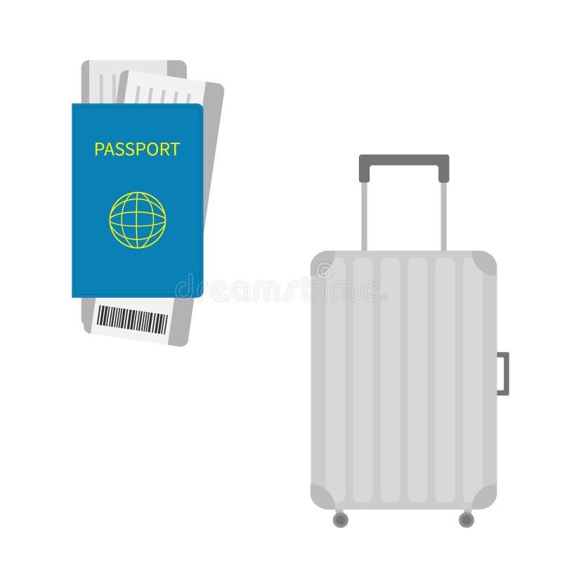 Passaporto, biglietto del passaggio di imbarco dell'aria con il codice a barre Icona della valigia Bagaglio di viaggio Borsa dei  illustrazione vettoriale