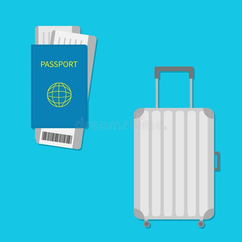 Passaporto, biglietto del passaggio di imbarco dell'aria con il codice a barre Icona della valigia Bagaglio di viaggio Borsa dei  royalty illustrazione gratis
