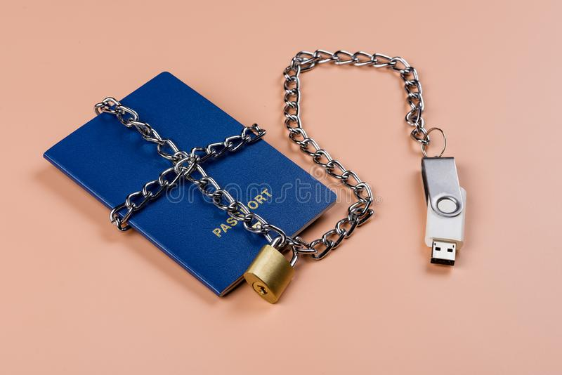 Passaporto biometrico Controllo elettronico sopra umanità immagine stock