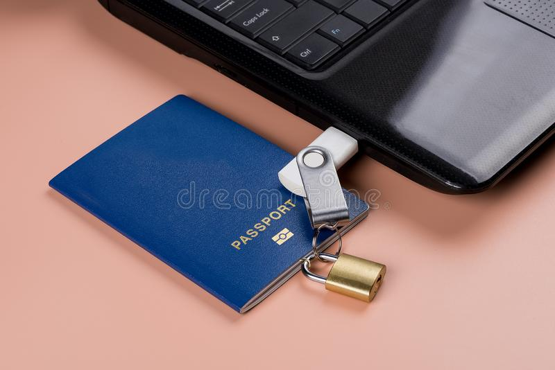 Passaporto biometrico Controllo elettronico sopra umanità immagini stock libere da diritti