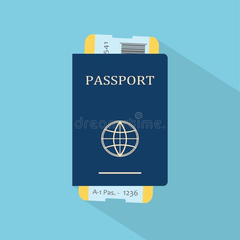 Passaporto con i biglietti illustrazione vettoriale
