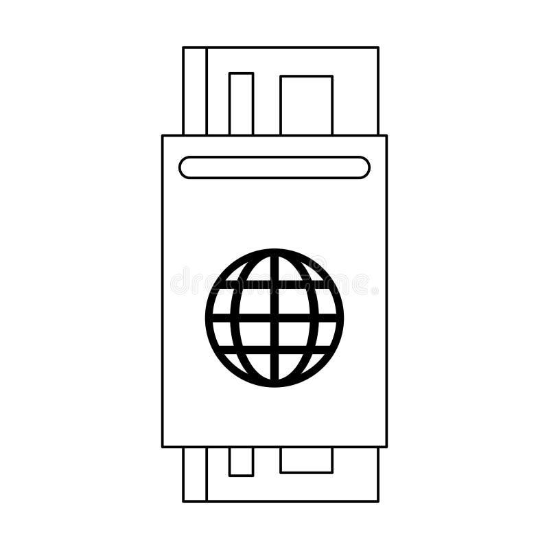Passaporto con il biglietto in bianco e nero illustrazione vettoriale