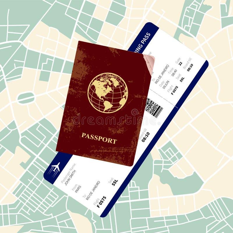 Passaporto con un passaggio di imbarco illustrazione vettoriale