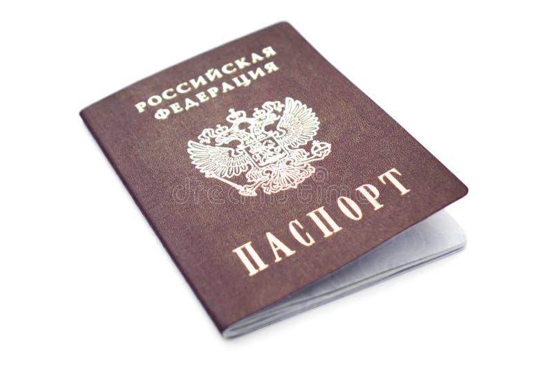 Passaporto dei cittadini della Federazione russa isolati su sfondo bianco fotografia stock