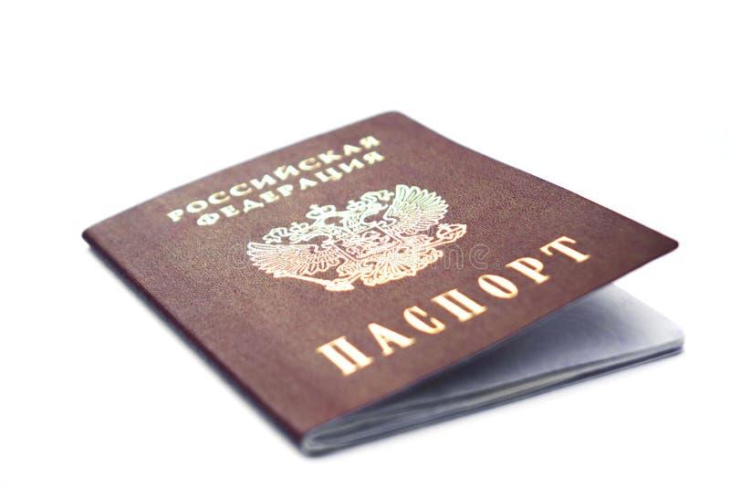 Passaporto dei cittadini della Federazione russa isolati su sfondo bianco fotografia stock libera da diritti
