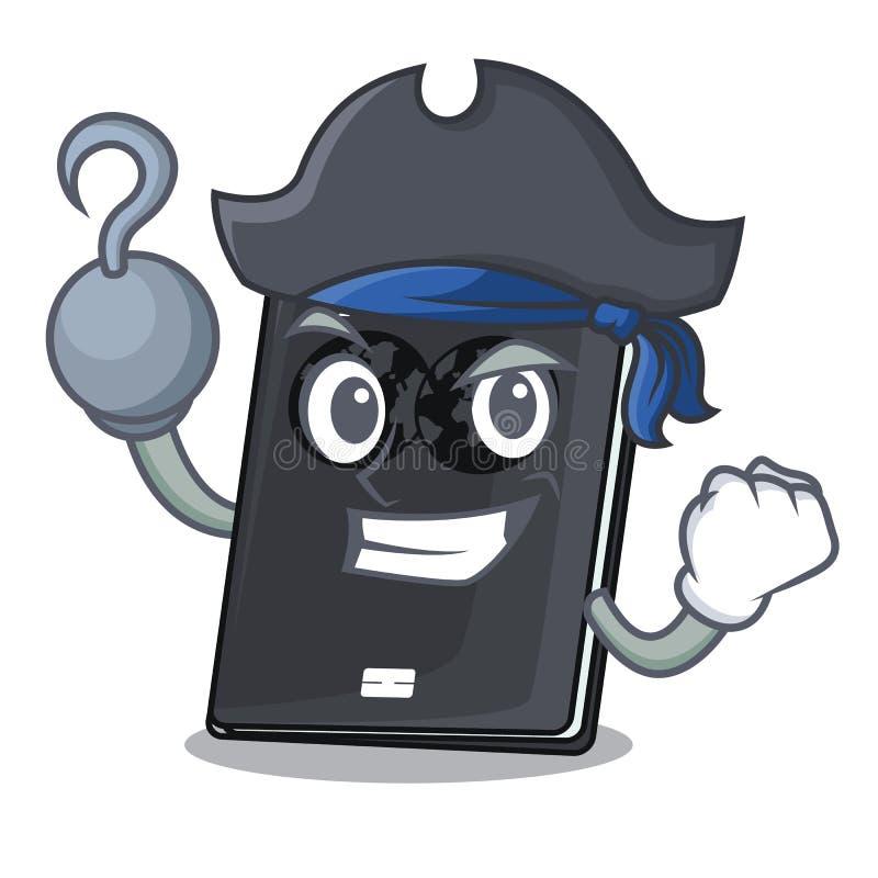 Passaporto del nero del pirata in una borsa del fumetto illustrazione di stock