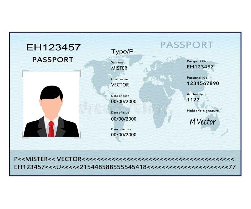 Passaporto dell'illustrazione con i dati biometrici illustrazione vettoriale