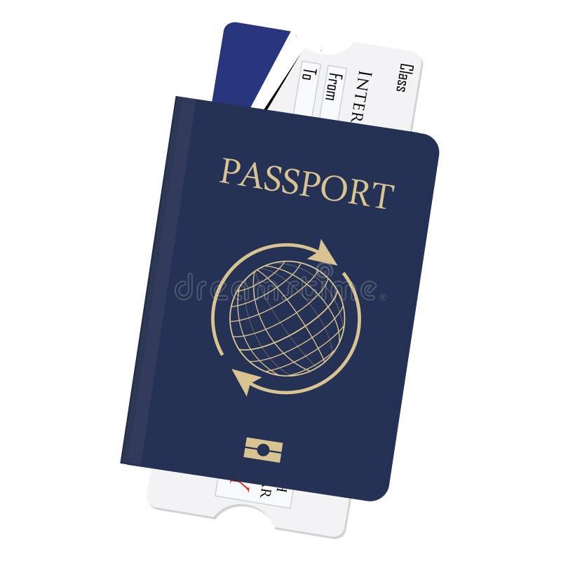Passaporto e biglietto illustrazione vettoriale