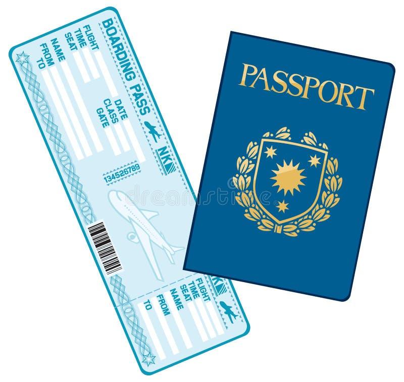 Passaporto e biglietto del passaggio di imbarco di linea aerea royalty illustrazione gratis