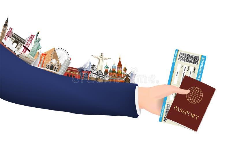 Passaporto e punto di riferimento del passaggio di imbarco della tenuta della mano illustrazione vettoriale