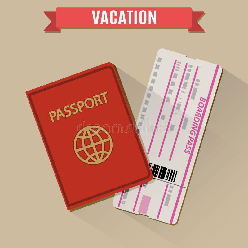 Passaporto ed icona del biglietto del passaggio di imbarco illustrazione di stock