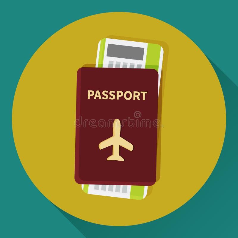 Passaporto ed icona del biglietto del passaggio di imbarco illustrazione vettoriale