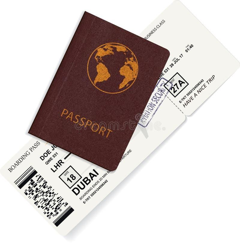 Passaporto internazionale con il biglietto del passaggio di imbarco illustrazione di stock