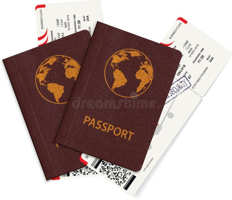 Passaporto internazionale con il biglietto del passaggio di imbarco illustrazione vettoriale