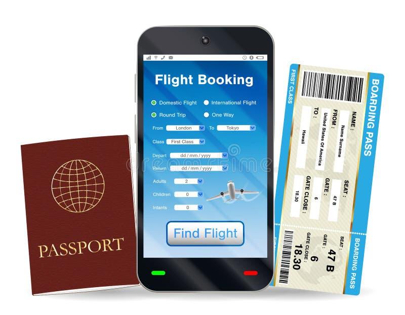 Passaporto online del passaggio di prenotazione e di imbarco di volo illustrazione vettoriale