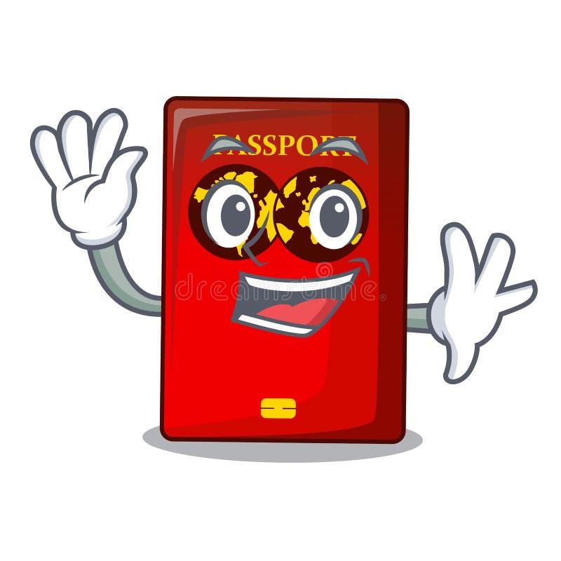 Passaporto rosso d'ondeggiamento nella borsa del fumetto illustrazione di stock
