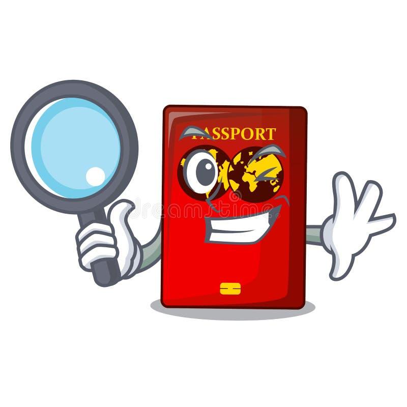 Passaporto rosso dell'agente investigativo nella borsa del fumetto illustrazione di stock