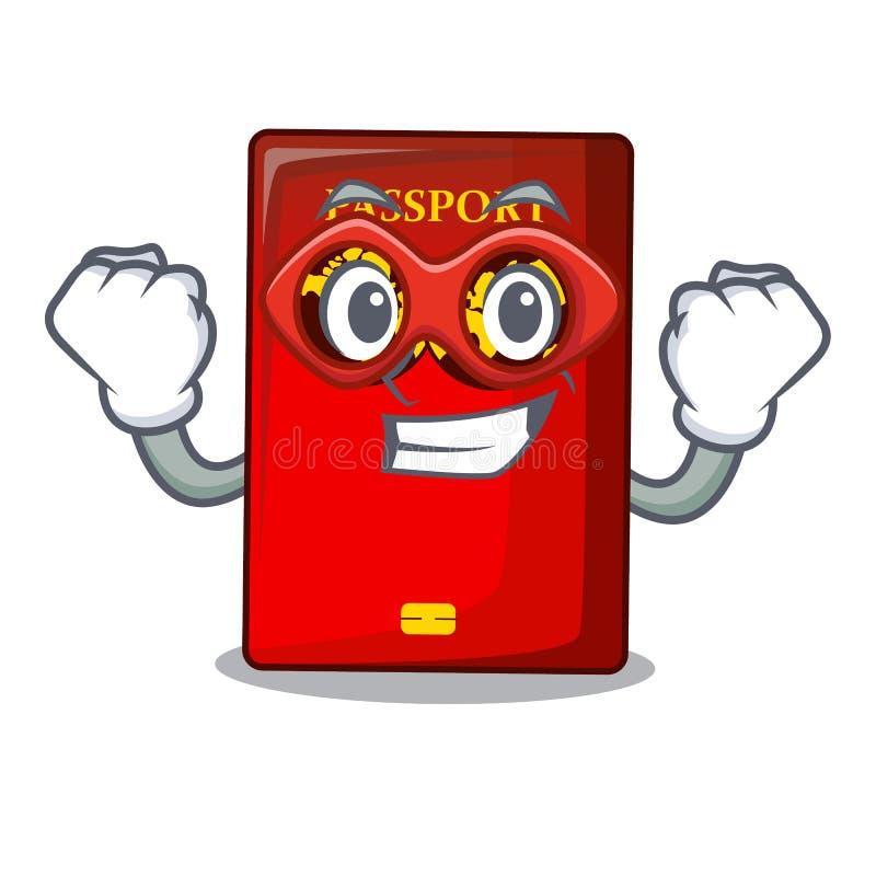Passaporto rosso dell'eroe eccellente nella borsa del fumetto illustrazione di stock