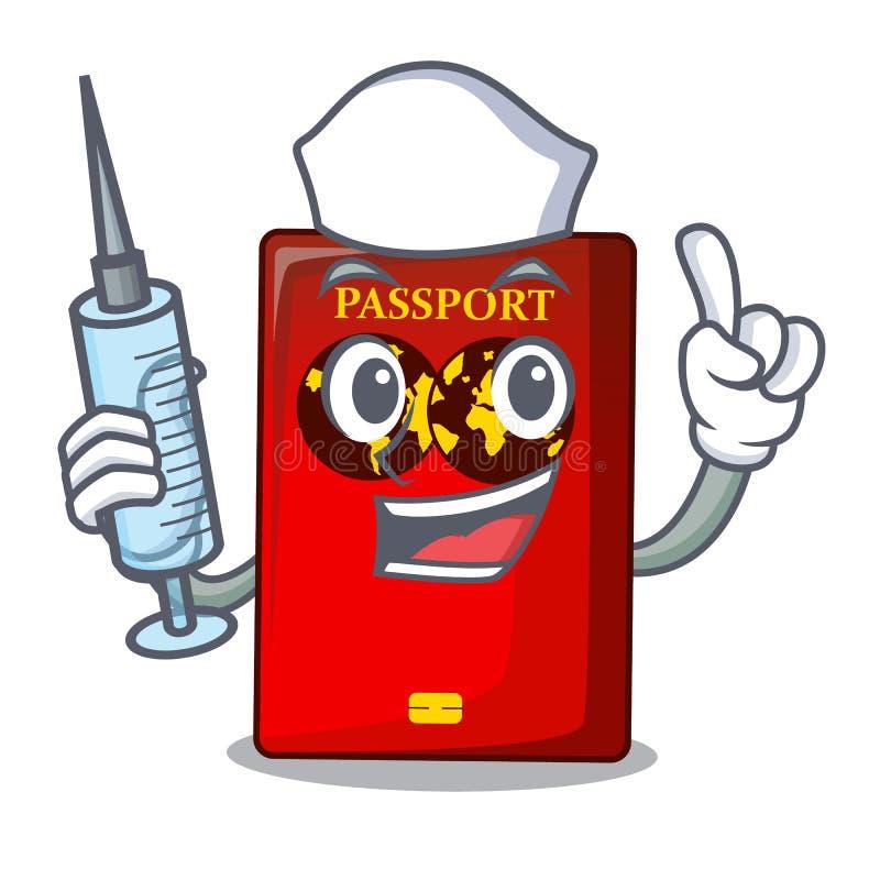 Passaporto rosso dell'infermiere nella borsa del fumetto royalty illustrazione gratis