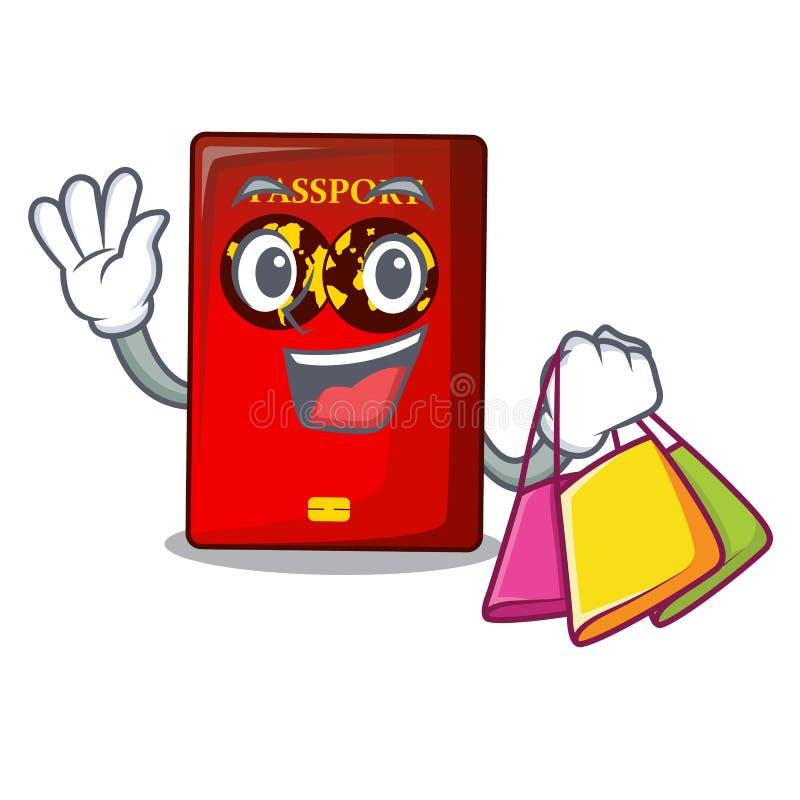 Passaporto rosso di compera nella borsa del fumetto illustrazione di stock