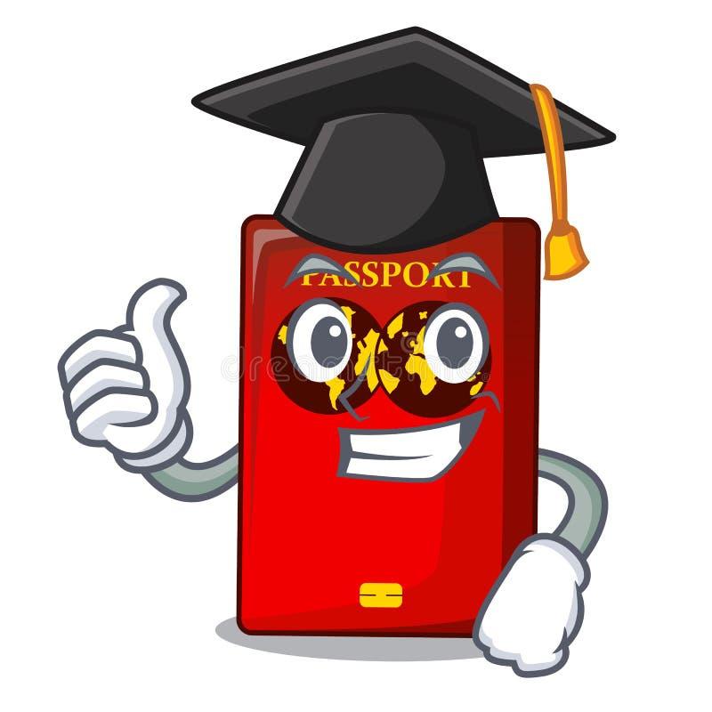 Passaporto rosso di graduazione nella borsa del fumetto royalty illustrazione gratis