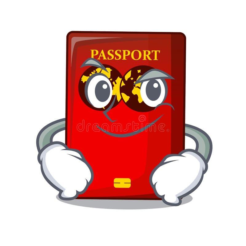 Passaporto rosso Smirking nella borsa del fumetto illustrazione vettoriale