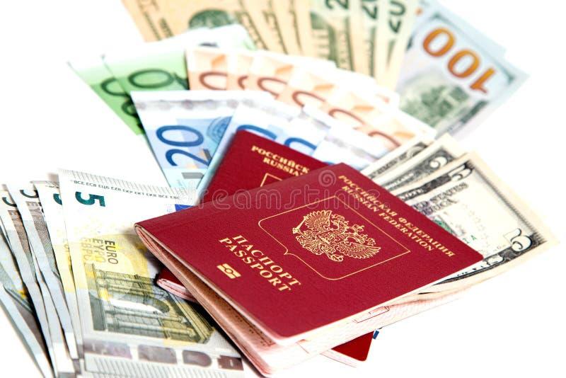 Download Passaporto russo e valuta immagine stock. Immagine di bianco - 56878299