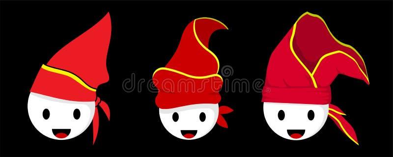 Passapu eller Patonro hatt med den vita emoticonen vektor illustrationer