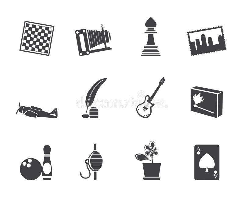 Passatempo da silhueta, lazer e ícones do feriado ilustração do vetor