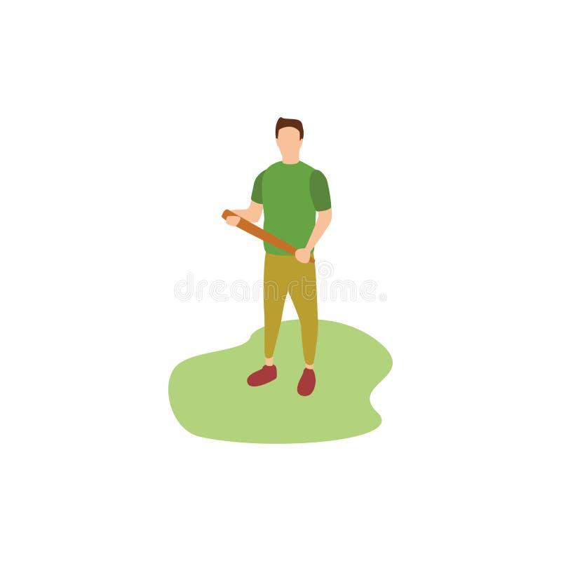 Passatempos humanos que jogam o basebol ilustração stock