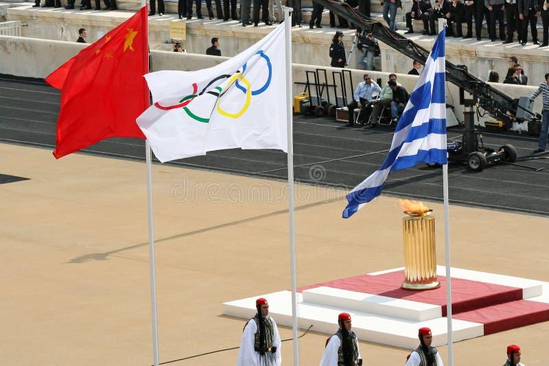 Passation olympique Ceremon de torche image stock